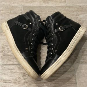 Longchamp Black Suede High Top Sneakers